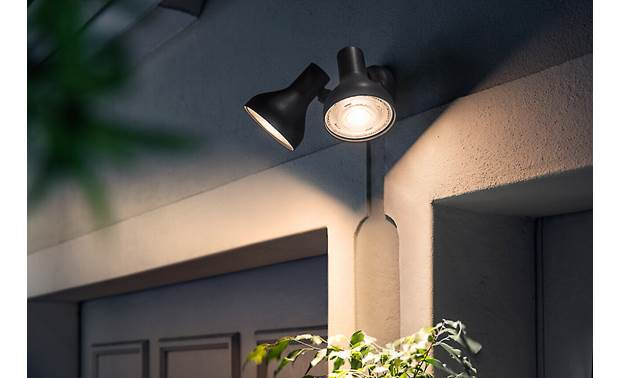 Philips Hue PAR38 Outdoor E26 screw base with PAR38 form factor designed for outdoor floodlight fixtures