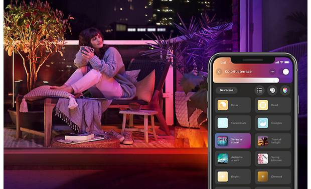 Philips Hue White and Color Ambiance Lightstrip Outdoor Choose from a variety of cool presets