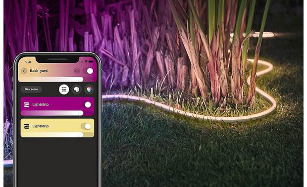 Philips Hue White and Color Ambiance Lightstrip Outdoor Set the scene using the mobile app