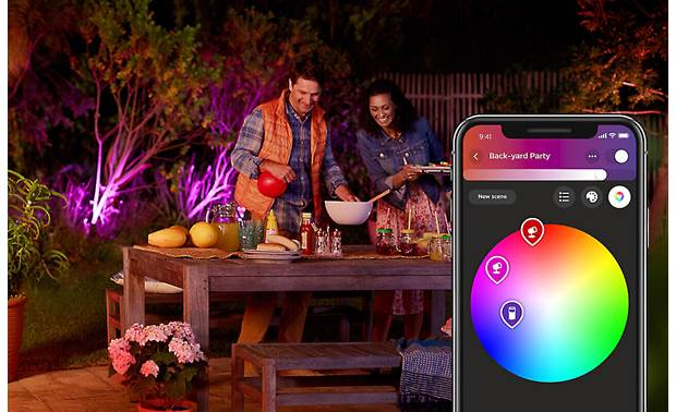 Philips Hue Lily White and Color Ambiance Outdoor Spotlights (3-pack) Choose custom colors using the Hue app