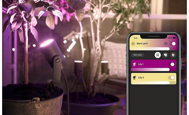 Philips Hue Lily White and Color Ambiance Outdoor Spotlights (3-pack) Control all your lights using the Hue app