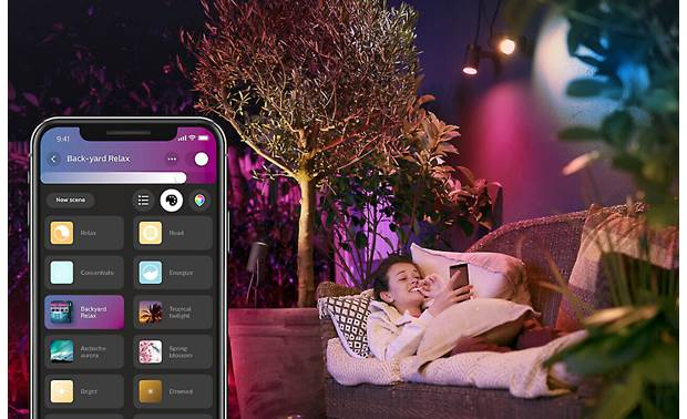 Philips Hue Lily White and Color Ambiance Outdoor Extension Spotlight Create lighting scenes using the Hue mobile app
