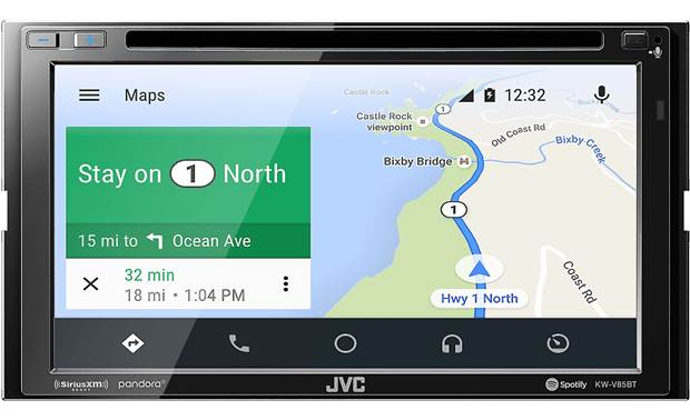 JVC KW-V85BT Google Maps shown using Android Auto