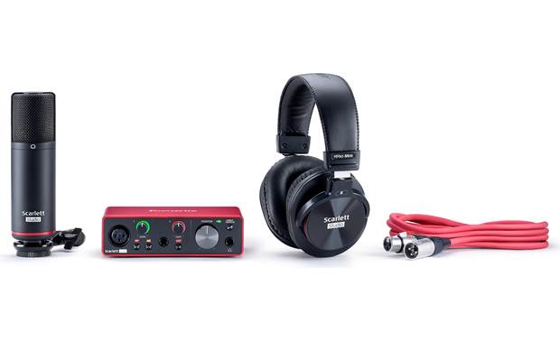 Focusrite Scarlett Solo Studio (3rd Generation) Bundle includes USB interface, headphones, microphone, and mic cable