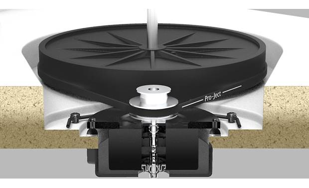 Pro-Ject X1 Motor decoupled from base for reduced vibration transmission