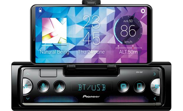 Pioneer SPH-10BT This radio's built-in cradle holds your phone (not included) so you can use it as a touchscreen display.