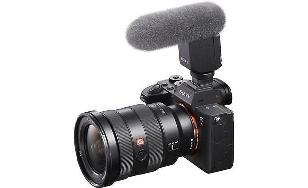 Sony ECM-B1M Shown mounted to Sony a7R (camera not included) with included wind screen