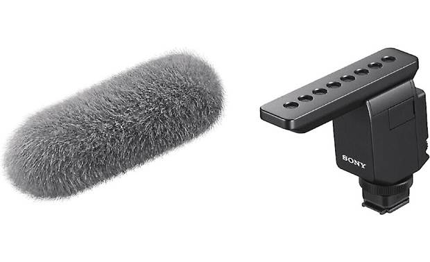 Sony ECM-B1M Microphone shown with included wind screen