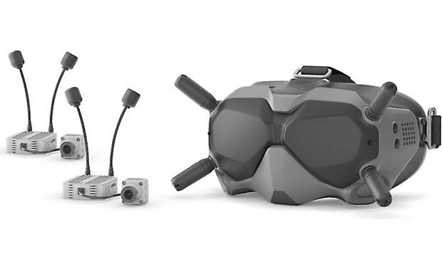DJI FPV Experience Combo Goggles shown with two air units with cameras and antennas attached