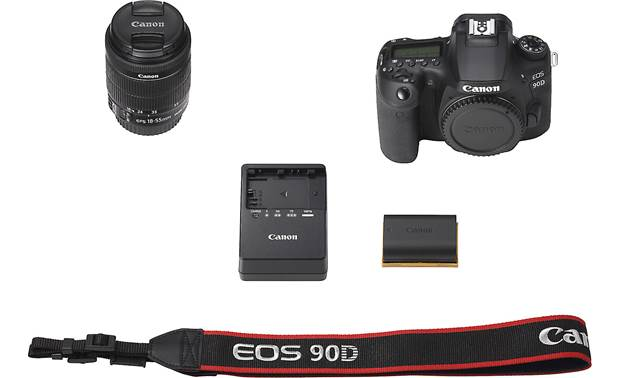 Canon EOS 90D Kit Shown with included accessories