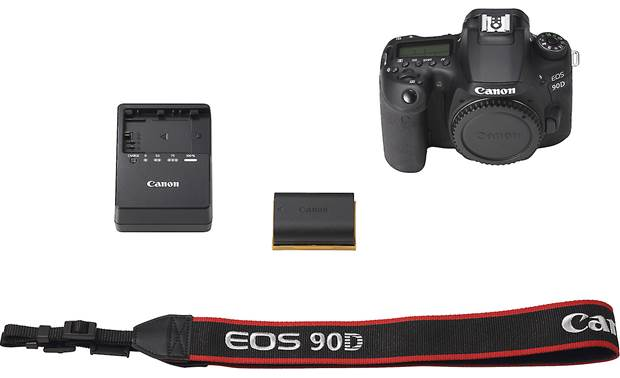 Canon EOS 90D (no lens included) Shown with included accessories