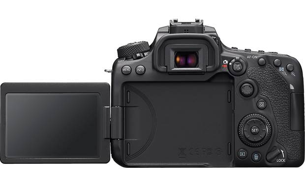 Canon EOS 90D (no lens included) Shown with rotating touchscreen flipped out