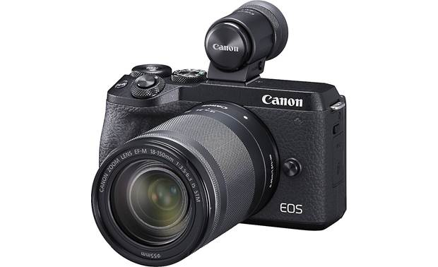 Canon EOS M6 II Telephoto Lens Kit Shown with included EVF-DC2 electronic viewfinder mounted on hot shoe