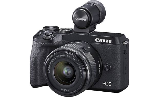 Canon EOS M6 II Kit Shown with included viewfinder mounted to hot shoe