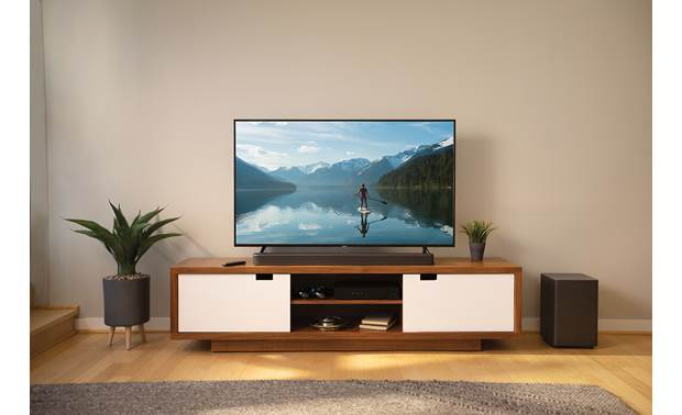 JBL Bar 2.1 Deep Bass Streamlined design looks great on a TV stand or mounted on the wall