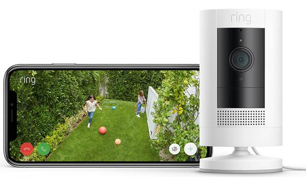 Ring Stick Up Cam Plug-In Get an HD view of your home from wherever you are