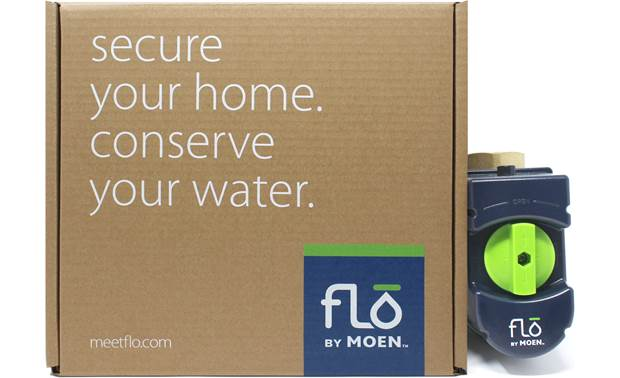 Flo by Moen Smart Water Valve Built-in sensors monitor water pressure, temperature, and flow rate