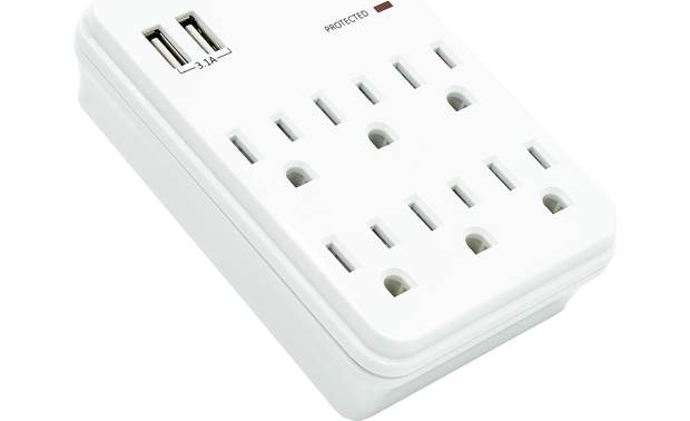 Metra Helios AS-P-6WTU Six protected AC outlets and two protected USB charging ports