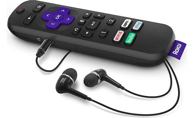 Roku Ultra 4670R (2019 model) Included JBL earbuds connect to remote for personal TV listening