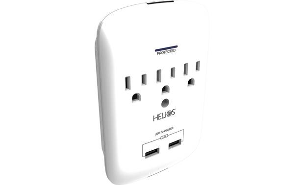 Metra Helios AS-HP-3WTU Three protected AC outlets and two protected USB charging ports