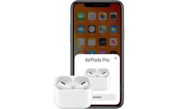 Apple AirPods Pro with Wireless Charging Case H1 wireless chip allows easy, one-tap pairing with your iPhone