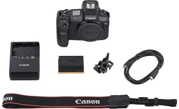 Canon EOS Ra (no lens included) Shown with included strap, battery, and charger