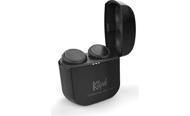 "Klipsch T5 True Wireless Snap-shut ""lighter-style"" charging case banks up to 24 hours of power"