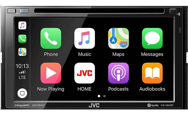 JVC KW-V850BT The Apple CarPlay screen looks a lot like your iPhone and works like it too