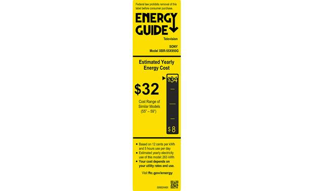 Sony XBR-55X950G Energy Guide