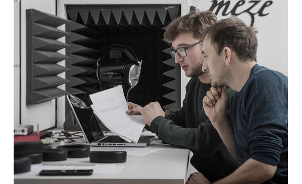 Meze Audio Empyrean Founder and lead designer Antonio Meze (right) works with managing director Mircea Fanatan to fine-tune the sound.