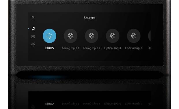 NAD M10 Masters Series Source selection shown on the built-in touchscreen