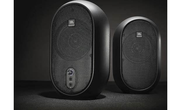 JBL 1 Series 104 volume control, minijack input, and headphone output on front of active speaker