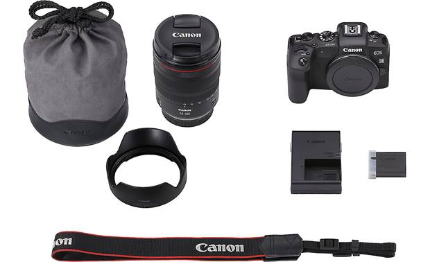 Canon EOS RP L-series Zoom Kit Shown with included accessories