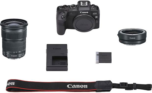 Canon EOS RP EF Zoom Lens and Lens Mount Adapter Kit Shown with all included accessories