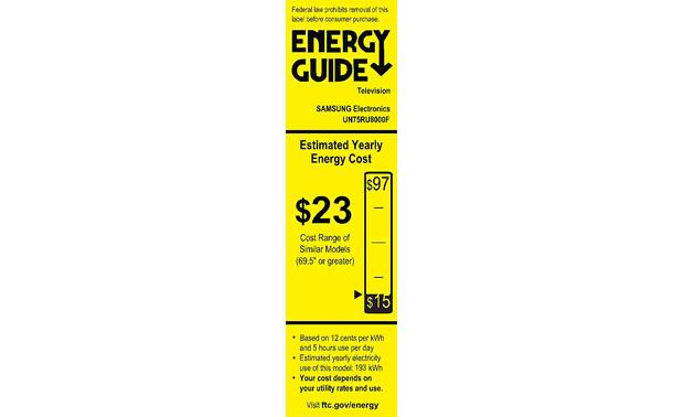 Samsung UN75RU8000 Energy Guide