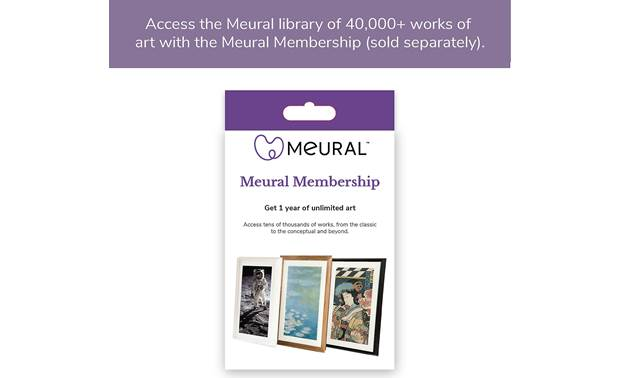 Meural Canvas — Powered by NETGEAR 100 free works are included, but an annual membership (sold separately) offers access to tens of thousands