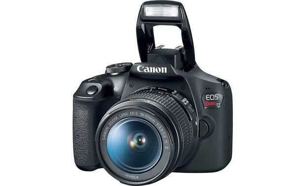 Canon EOS Rebel T7 Kit Shown with built-in flash deployed