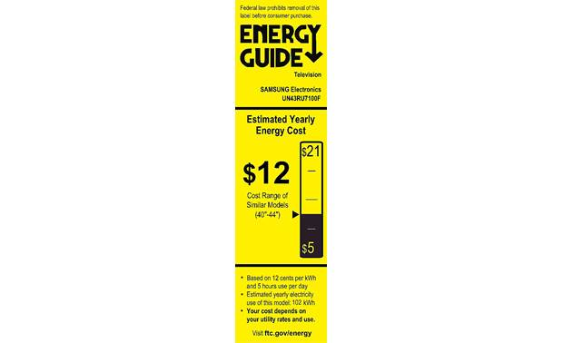 Samsung UN43RU7100 Energy Guide