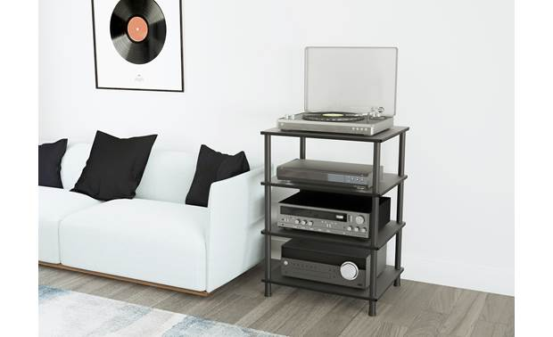 AVF Four Shelf Audio Stand (AKS604BB-A) Fits almost any décor (components not included)