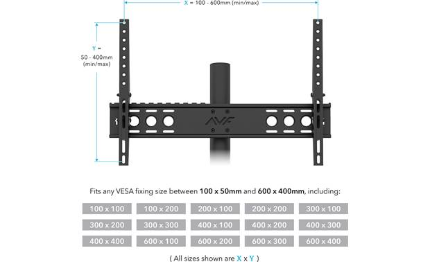 AVF Options Stack TV Stand (STKL900A) Accommodates VESA mounting hole patterns from 100 x 100mm to 600 x 400mm