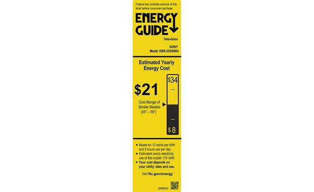 Sony XBR-55X900H Energy Guide