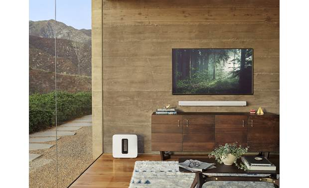 Sonos Arc/Sub Home Theater Bundle Sub can be placed upright or flat on its back, and Arc can be wall-mounted