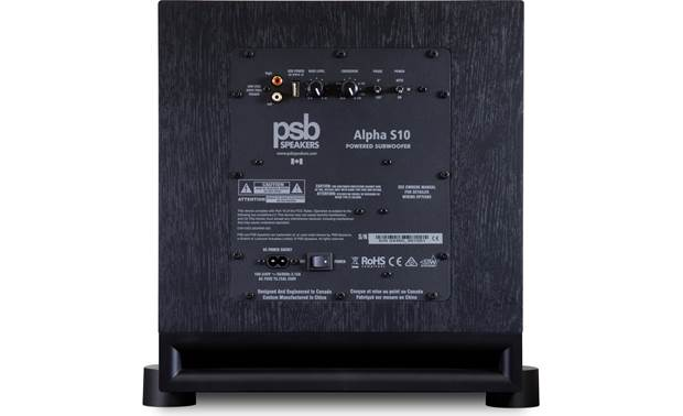 PSB Alpha S10 Rear-panel inputs and controls