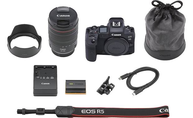 Canon EOS R5 L Series Zoom Kit Shown with included accessories