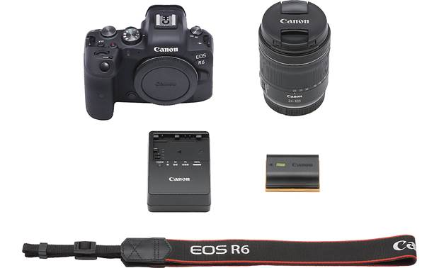 Canon EOS R6 Zoom Kit Shown with included accessories