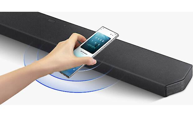Samsung HW-Q900T Tap Sound feature allows you to tap the bar with a compatible Samsung phone to begin playing your favorite playlist