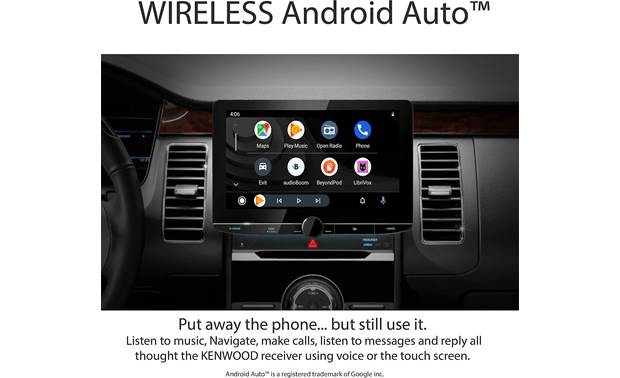 Kenwood Excelon Reference DMX1057XR Simulated image showing Android Auto on the big screen in a vehicle