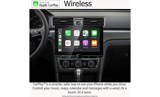 Kenwood Excelon Reference DMX1057XR Simulated image showing Apple CarPlay on the big screen in a vehicle