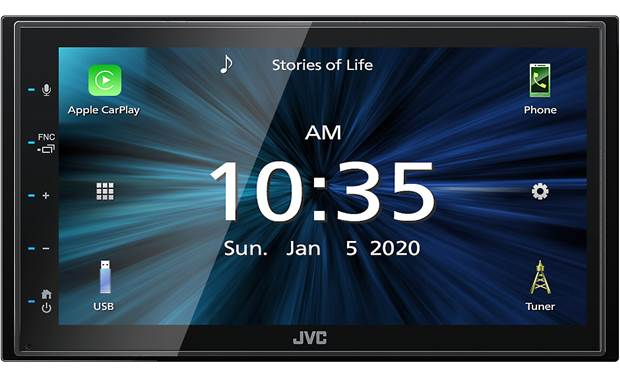 JVC KW-M56BT This touchscreen receiver gives you lots of ways to link up your smartphone