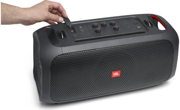 JBL PartyBox On-The-Go IPX4 rated splash proof with rubber seals for inputs